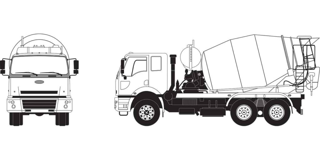 Image of a concrete ready-mix truck